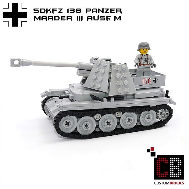 cb custom modell marder3 ausf h panzer wehrmacht tank ww2 wwii aus lego steinen ebay. Black Bedroom Furniture Sets. Home Design Ideas