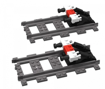 BlueBrixx Train buffer stop 2x with two straight rail tracks 60 parts