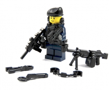 Custom Figure  Police officer SWAT from LEGO® parts with cap and gun