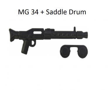 Brickarms Brickarms MG34 + Saddle Drum black for LEGO figures black for LEGO figures