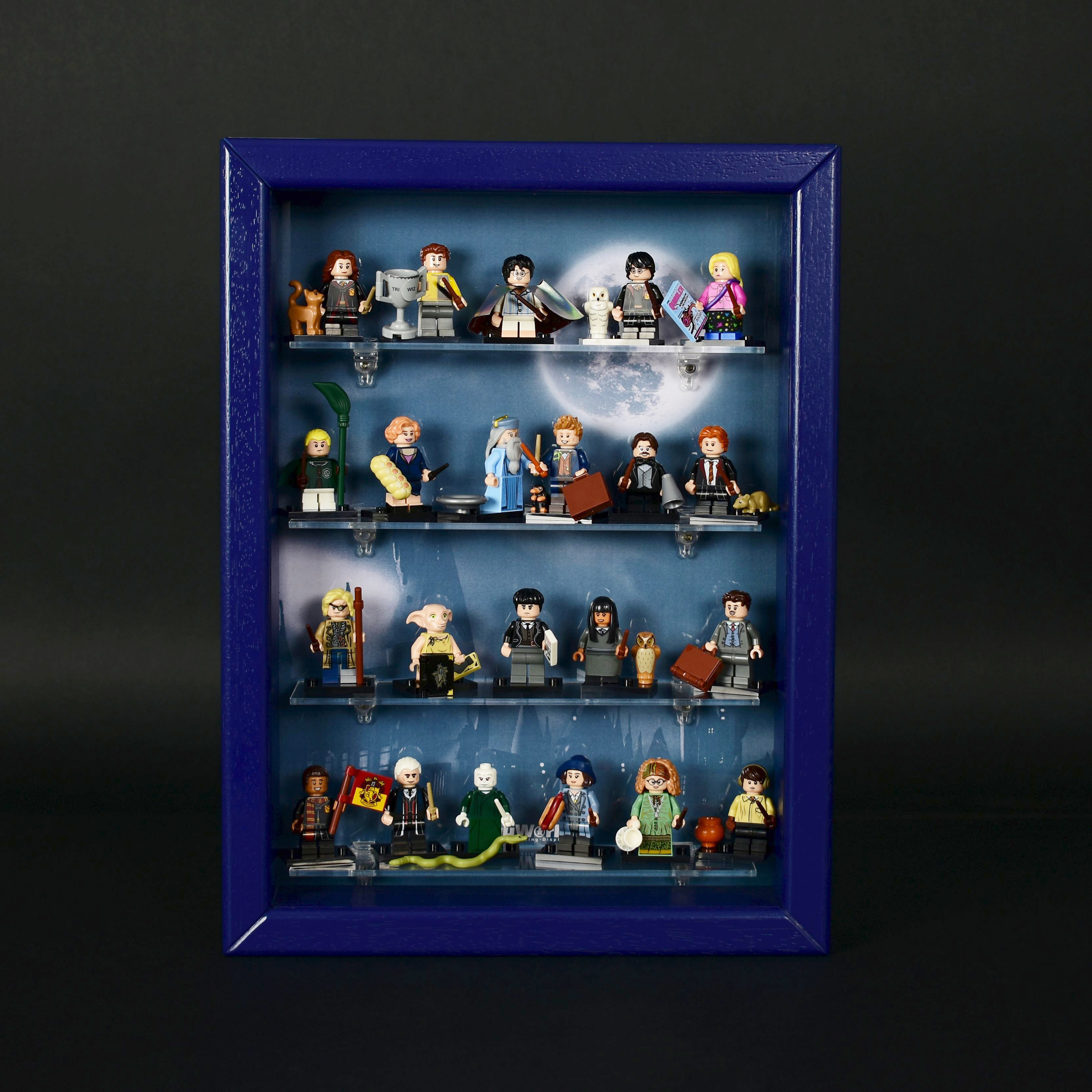 figumultiregal system vitrine f r eure lego serie 71022 harry potter eiche kobaldblau. Black Bedroom Furniture Sets. Home Design Ideas