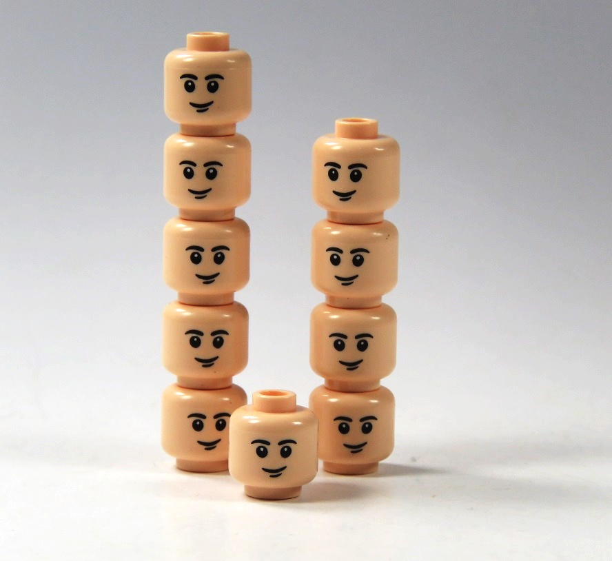 10 custom heads mixed skin color for LEGO® figures