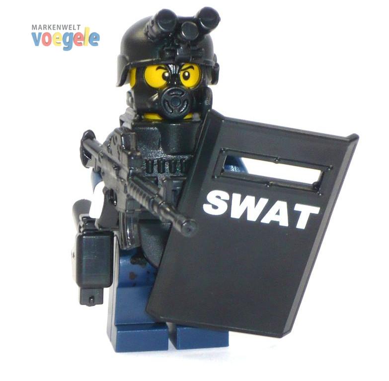 Polizei Figur Swat Spezialeinheit Aus Lego Teilen Mit Custom Schild