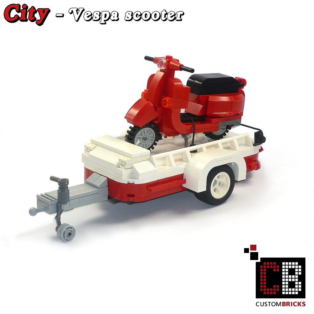 custom modell vespa roller mit anh nger aus lego steinen z. Black Bedroom Furniture Sets. Home Design Ideas