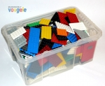 25 LEGO plates in different colors and sizes